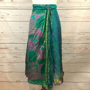 Kimaya India Reversible Silk Wrap Skirt